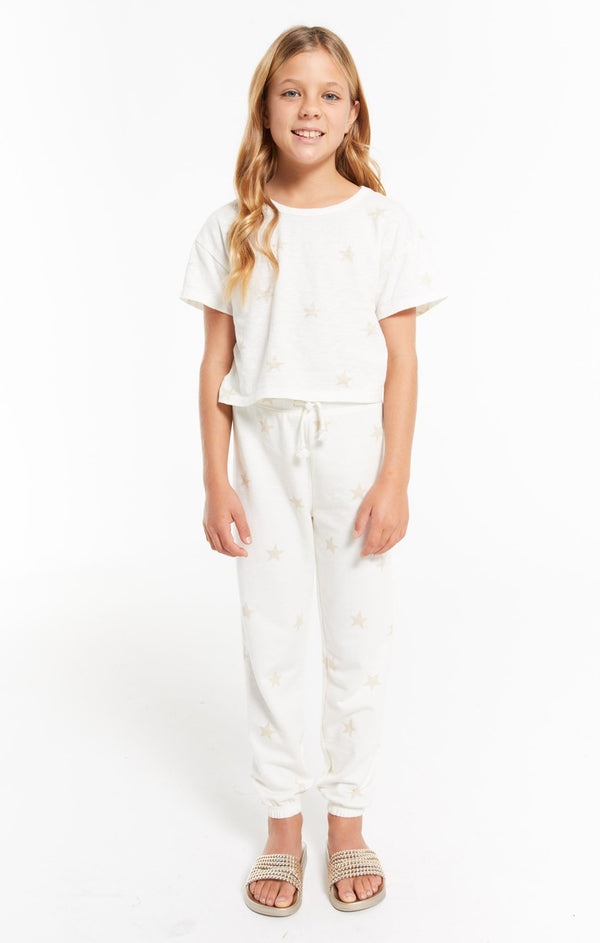 Girls Palmer Star Jogger, Sand Dollar