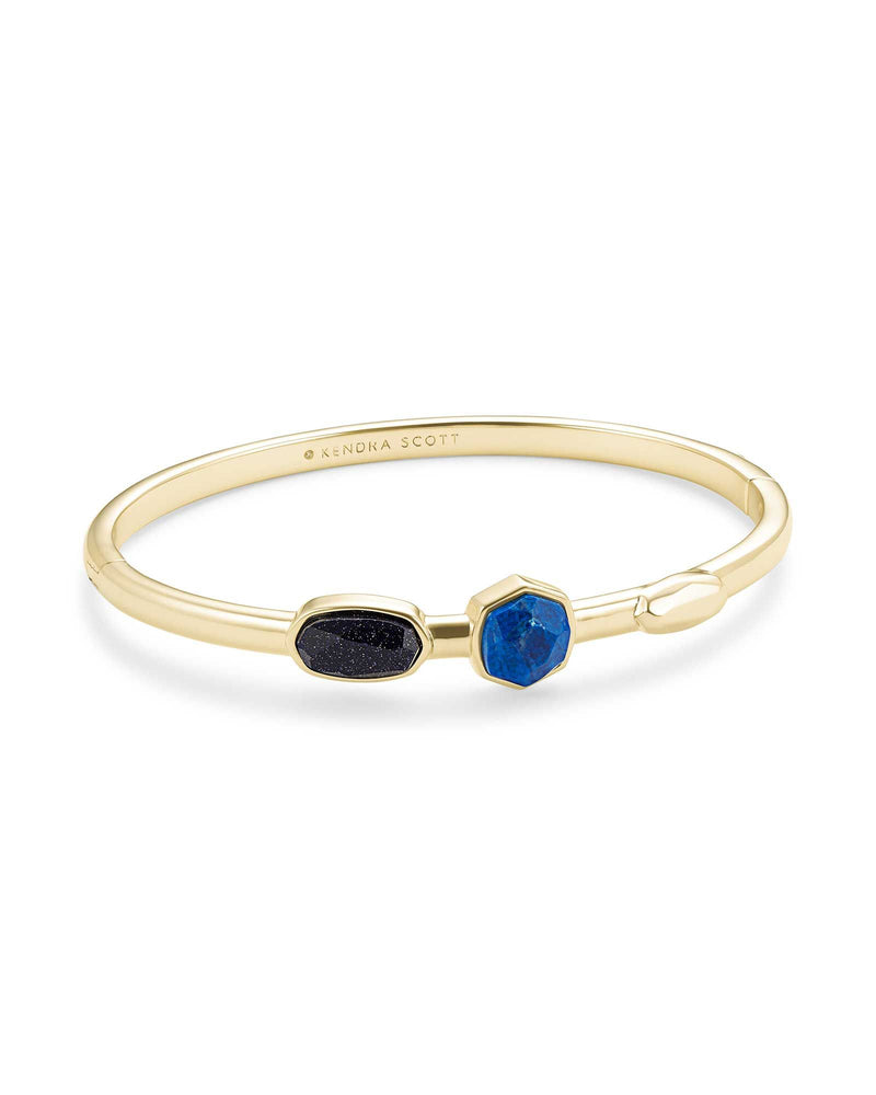 Davie Gold Bangle Bracelet in Blue Mix