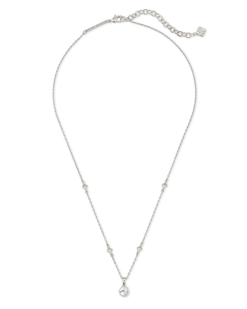 Nola Silver Short Pendant Necklace in White Howlite