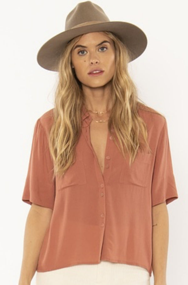 Allora Woven Top in Terracotta