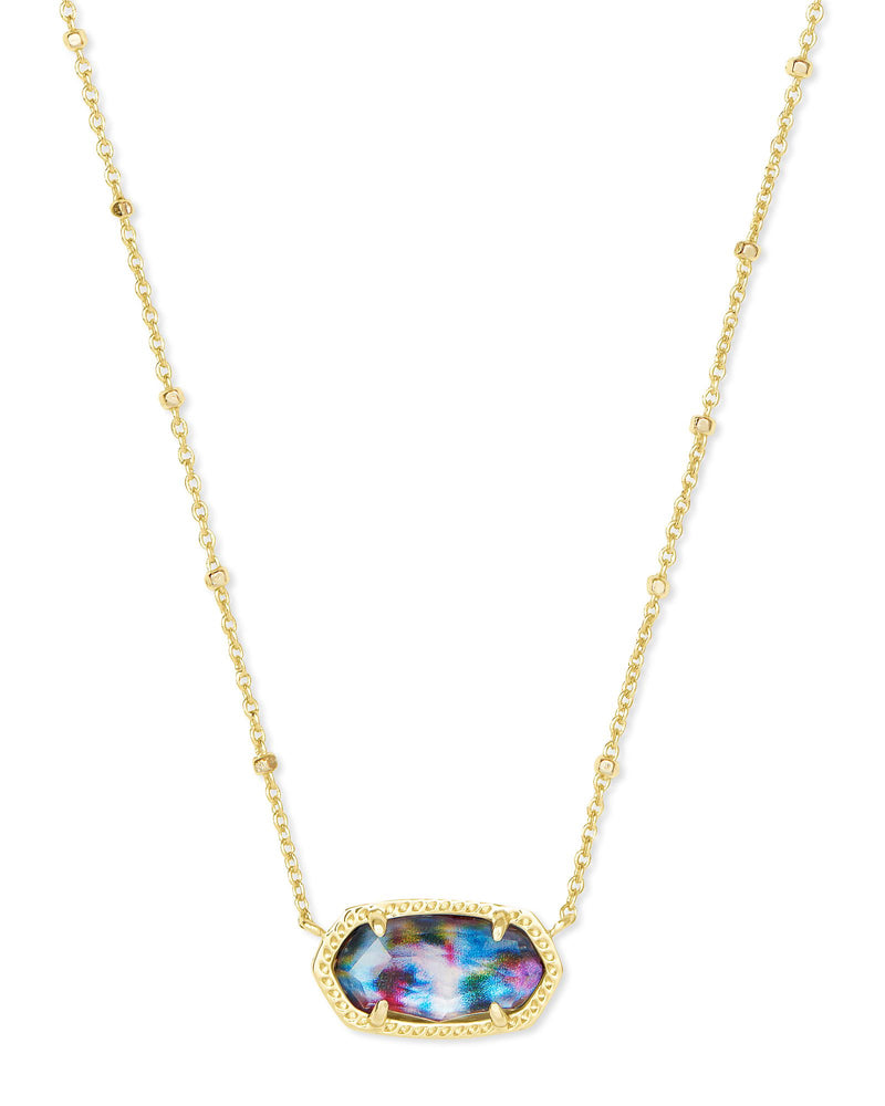 Elisa Satellite Short Necklace, Gold Tie Dye Illusion
