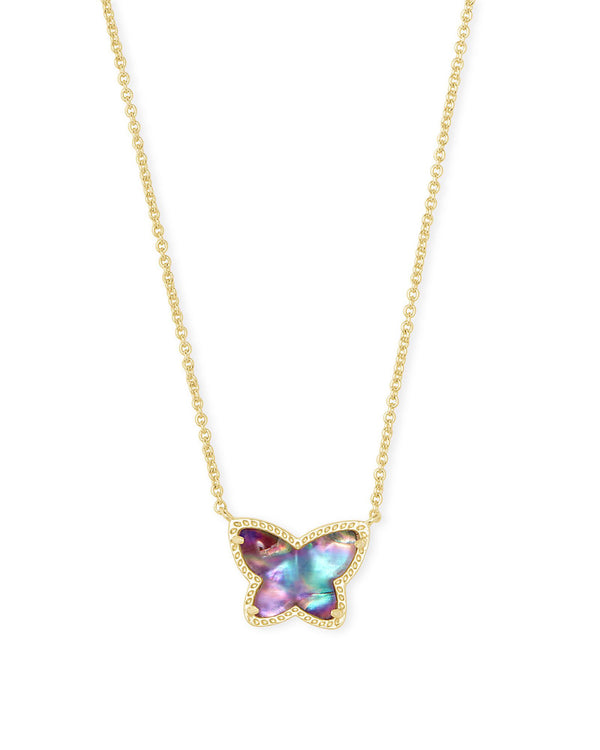 Lillia Gold Butterfly Pendant Necklace, Lilac Abalone