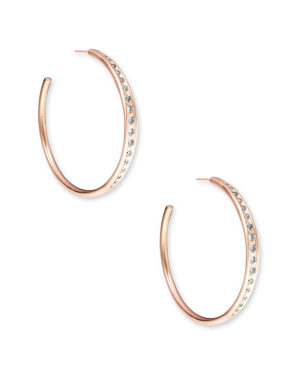Selena Hoop Earring, Rose Gold White CZ