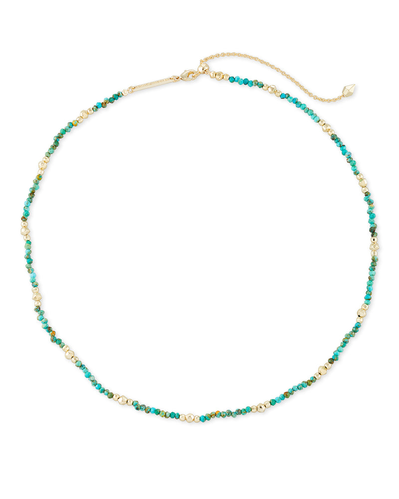 Scarlet Choker Necklace, Gold Turquoise