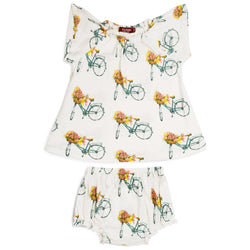 MILKBARN BAMBOO BLOOMER SET, FLORAL BICYCLE