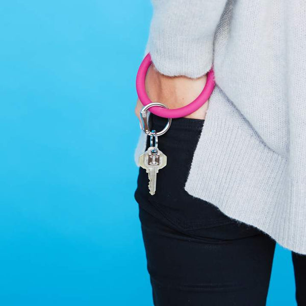 Silicone Big O Key Ring - I Scream Pink
