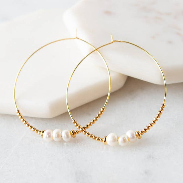 Lily Earrings, Pearl