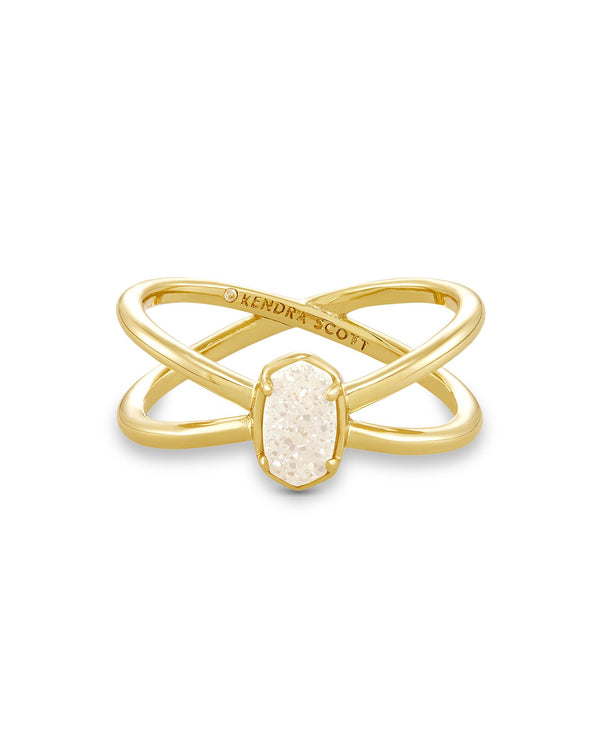 Emilie Double Band Ring, Gold Iridescent Drusy