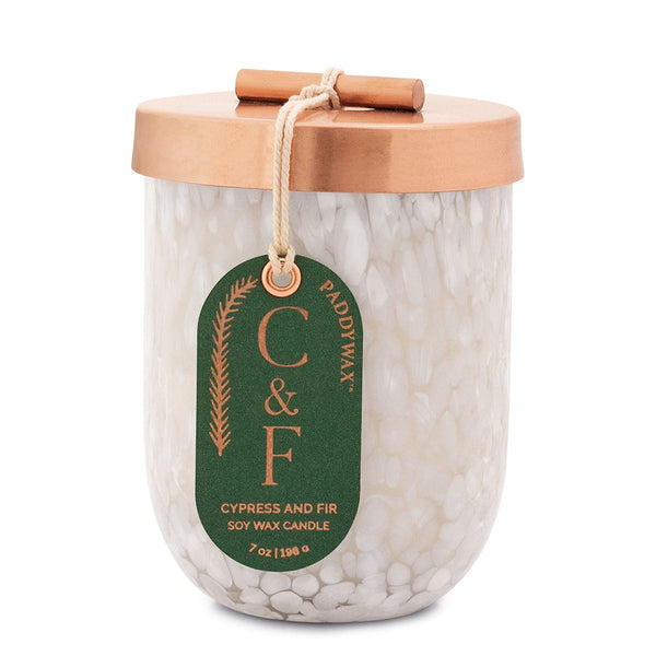 Cypress Fir 7oz White Cheena Glass Candle
