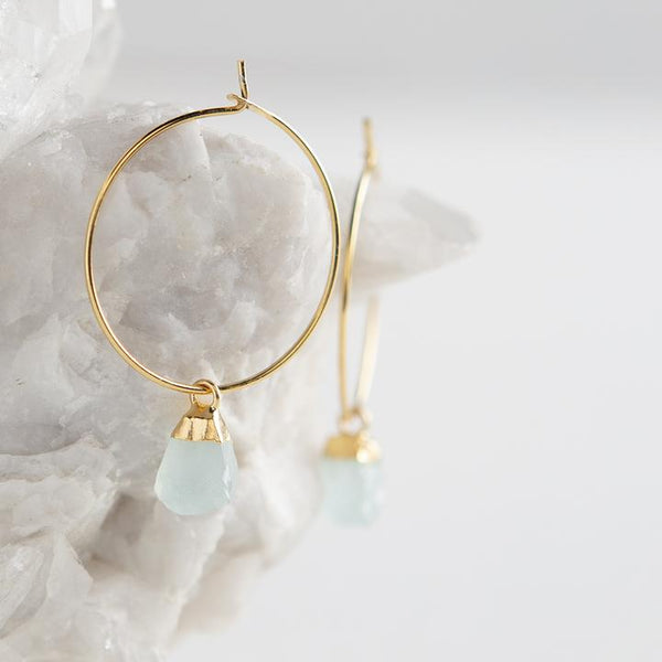 Bella Earrings, Chalcedony