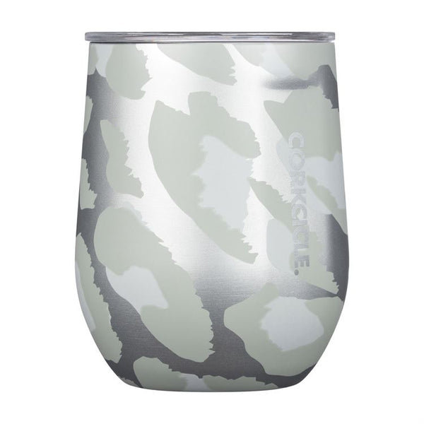 12oz Stemless Cup, Snow Leopard
