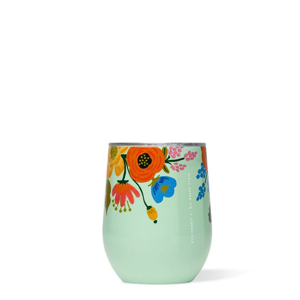 Rifle Paper 12oz Stemless, Mint Lively Floral