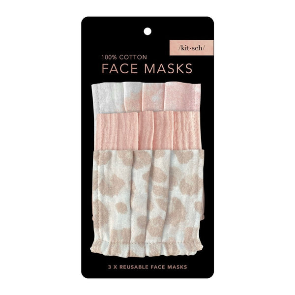 Cotton Mask, 3 Piece Set - Blush