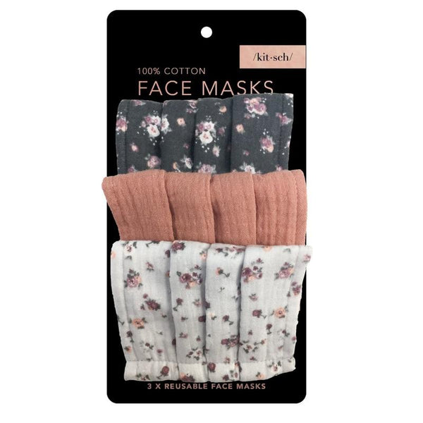 Cotton Mask, 3 Piece Set - Vintage Floral
