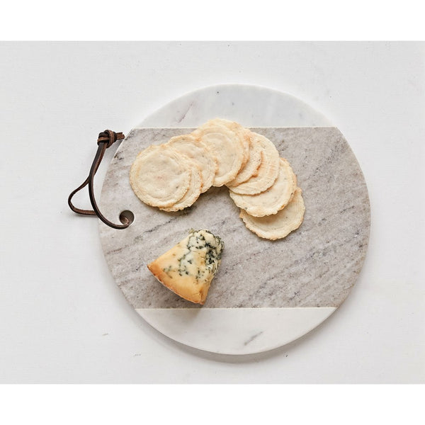 Round Marble Cheese Board with Leather Tie