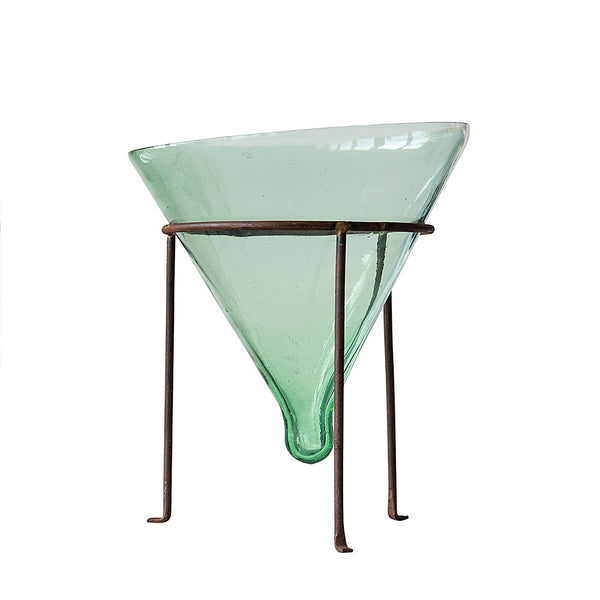 "10"" Recycled Glass Cone Planter with Metal Stand"