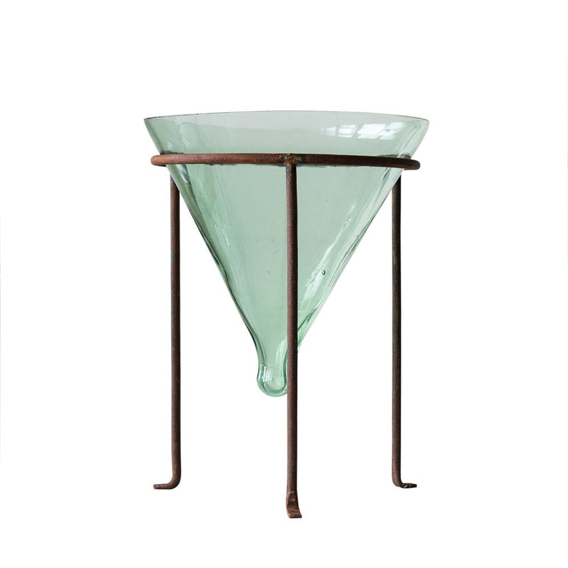 "8"" Recycled Glass Cone Planter with Metal Stand"