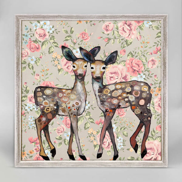 Dancing Deer Floral Mini Framed Canvas