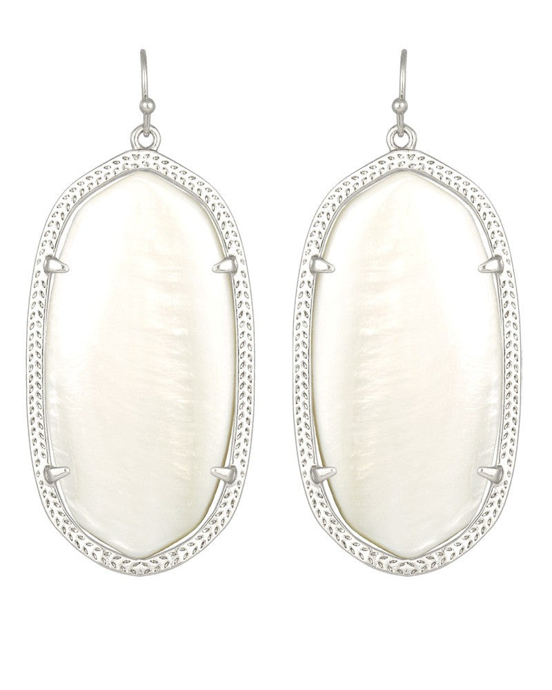 KENDRA SCOTT Silver Danielle Earrings in White Pearl - Sabi Boutique - 1