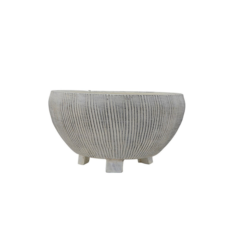 Terra-cotta Textured Footed Planter, Cream