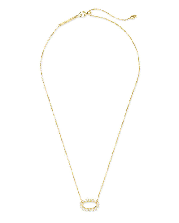 Elisa Open Frame Necklace, Gold White CZ