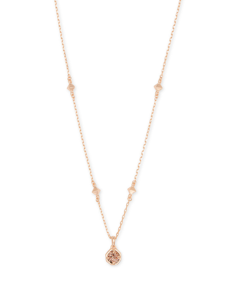 Nola Rose Gold Pendant Necklace Rose Gold Drusy