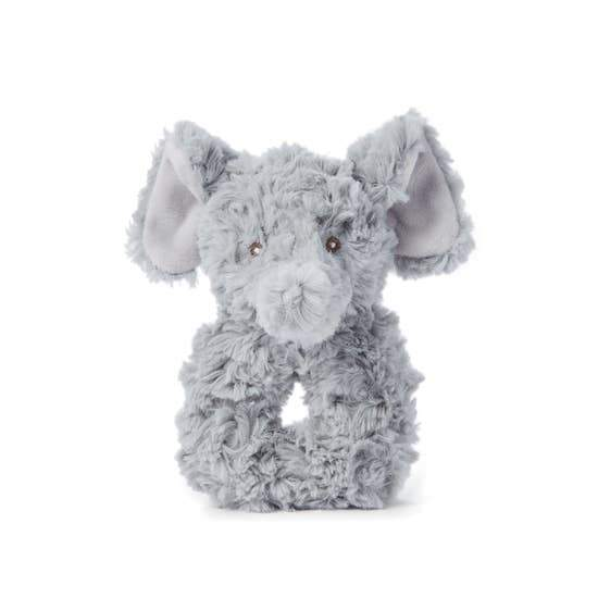 Plush Rattle, Slate Elephant