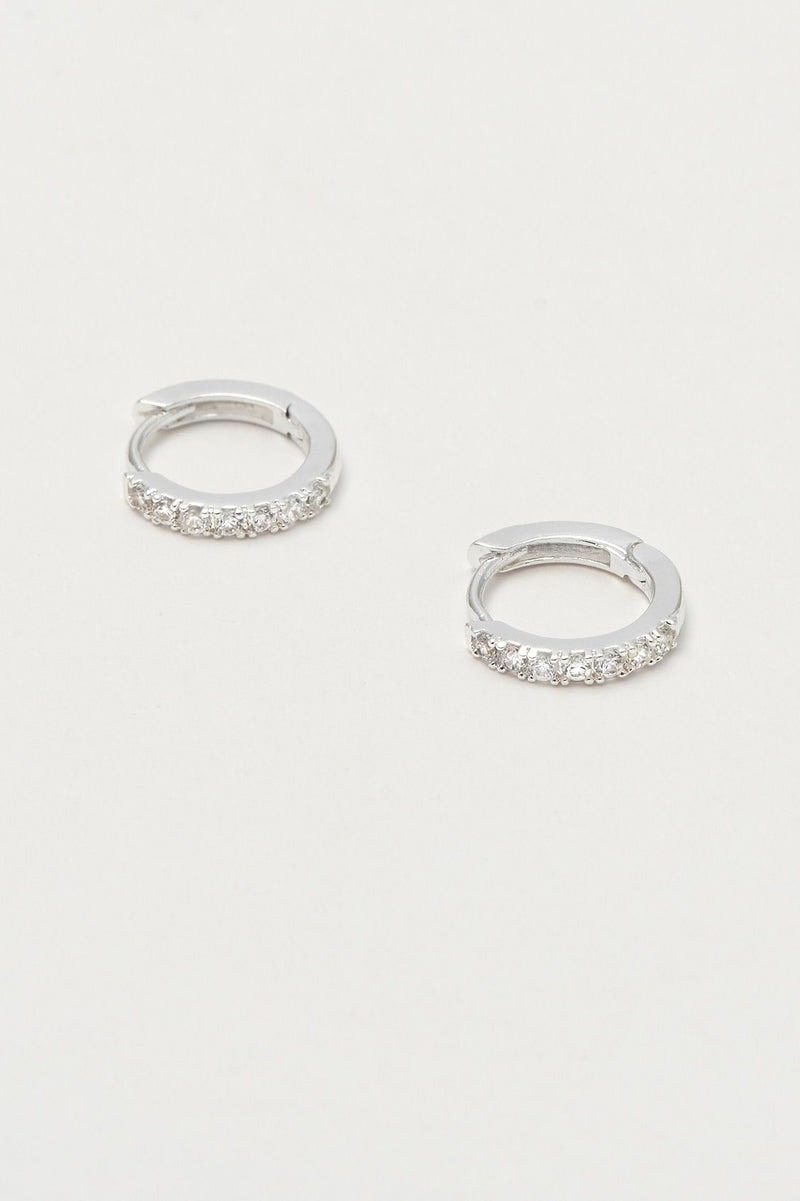 Hoop Earrings With White CZ - Silver