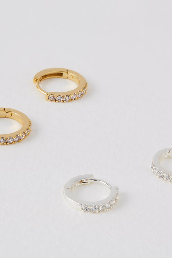 Hoop Earrings With White CZ - Gold