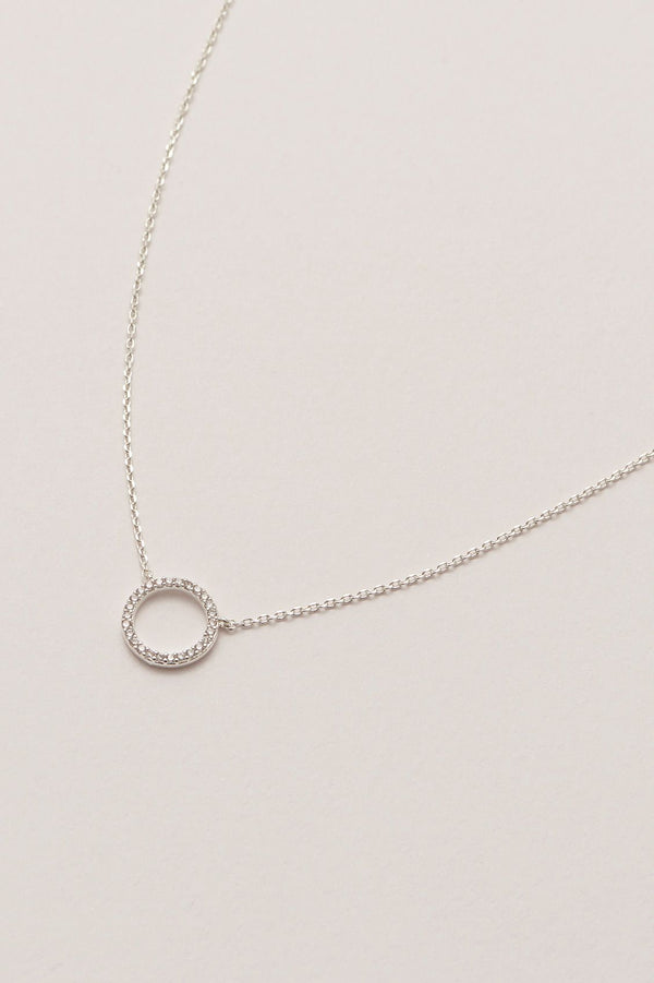 Large Pave Circle Necklace - Silver