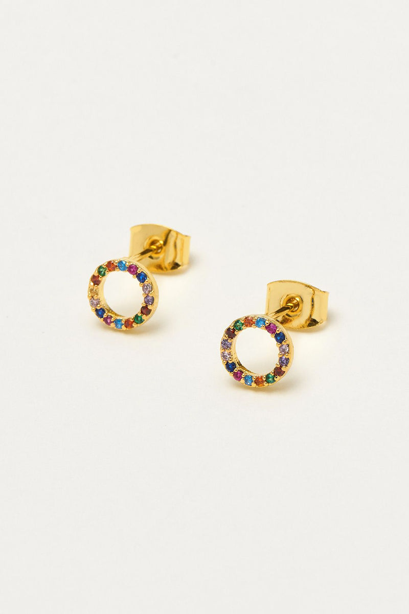 Multi Circle Stud Earrings - Gold
