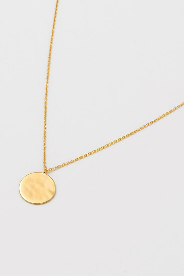 Hammered Disc Pendant Necklace, Gold