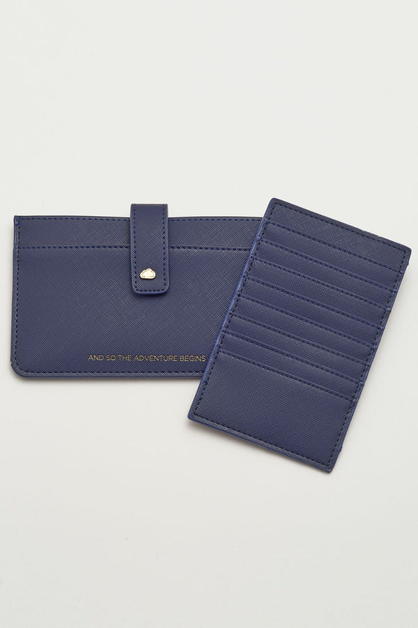 And So The Adventure Begins Travel Document Wallet, Navy Saffiano