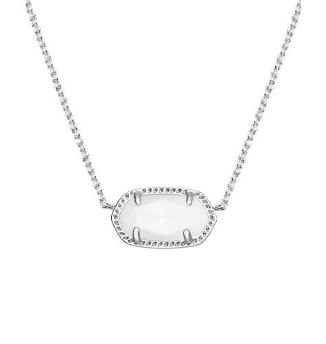 KENDRA SCOTT Elisa Silver Necklace in White Mother-of-Pearl