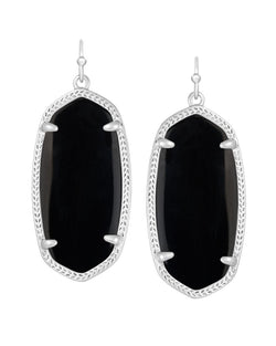 KENDRA SCOTT Elle Silver Earrings in Black - Sabi Boutique - 1