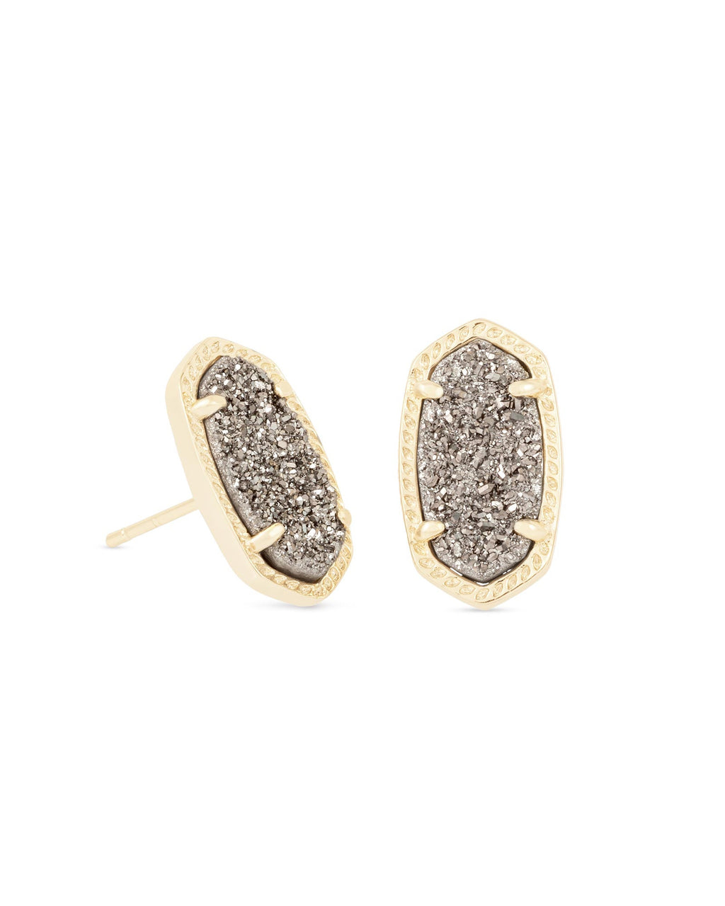 KENDRA SCOTT Ellie Gold Stud Earrings In Platinum Drusy