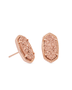 KENDRA SCOTT Ellie Stud Earrings In Rose Gold Drusy