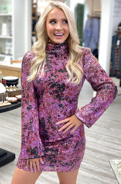 Floral Sequin Long Sleeve Dress