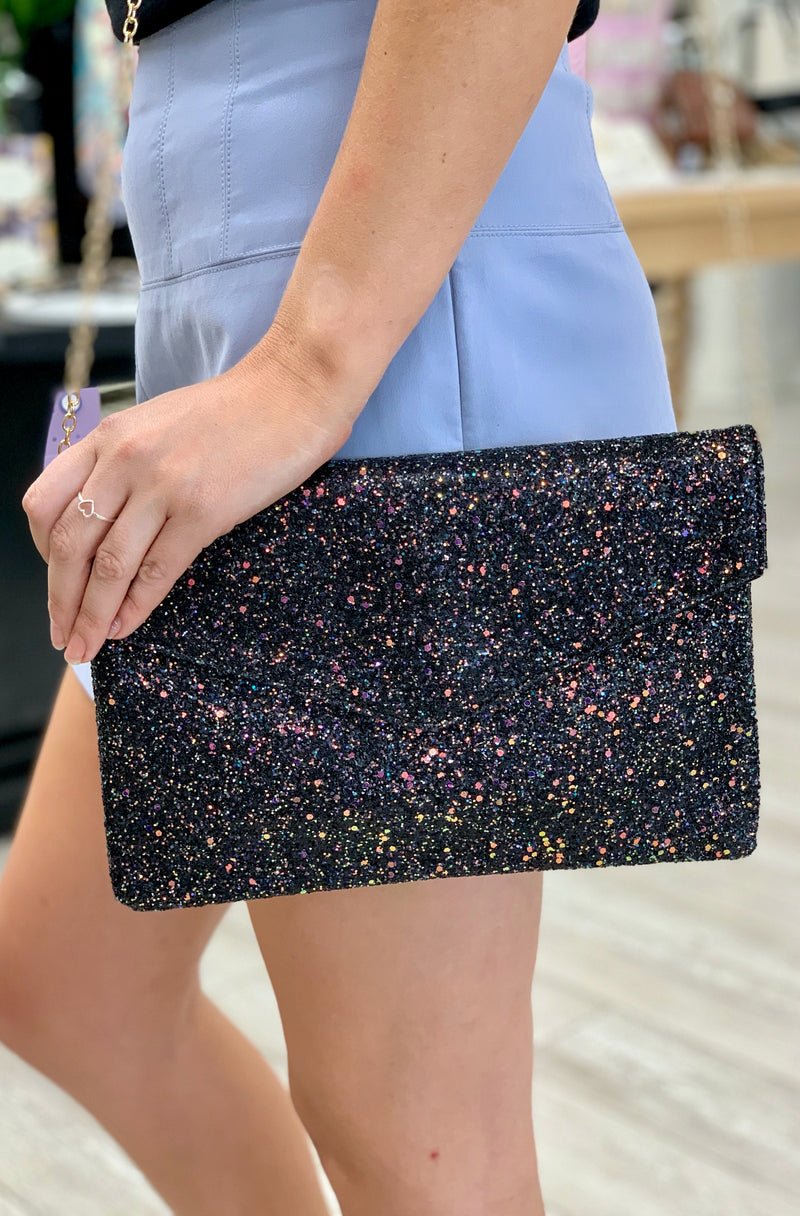 Fun & Flirty Sequin Clutch in Black