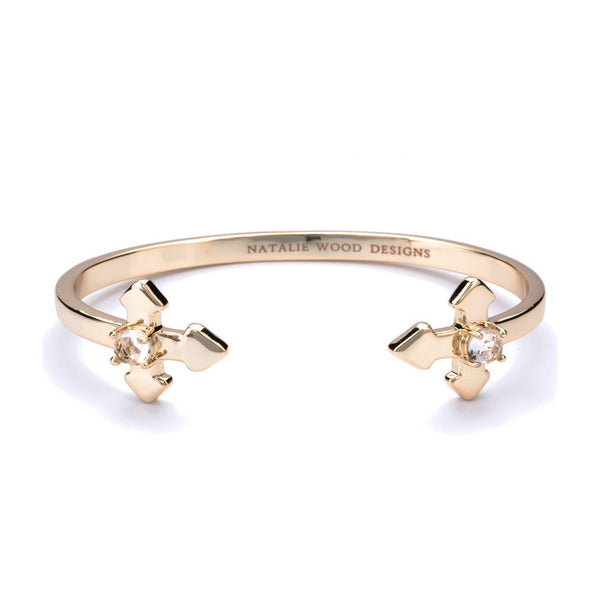 NATALIE WOOD DESIGNS Believer Cross Cuff Bracelet in Gold