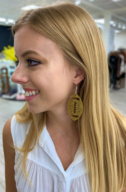 Gold Football Earrings