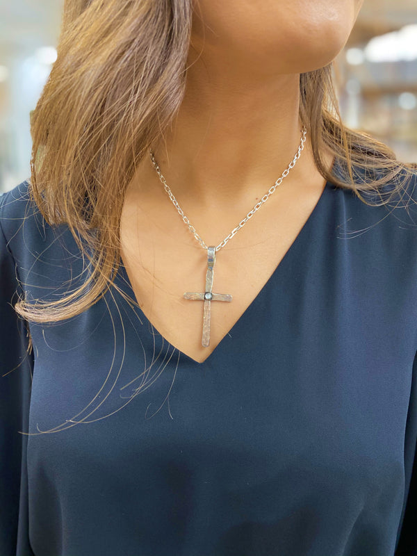 Hammered Thin Cross Pendant with Single Mother of Pearl