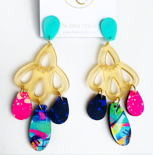 Lucille Earrings, Rose Gold Turquoise Neon Pink