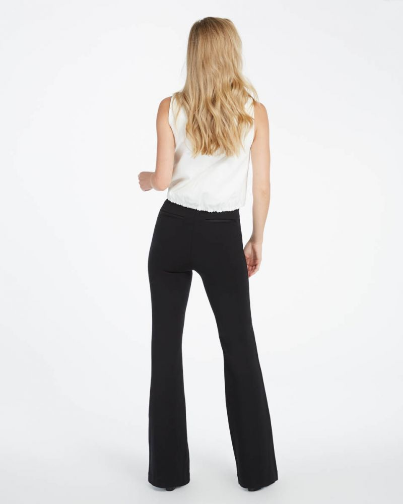 High-Waisted Ponte Pants, Black
