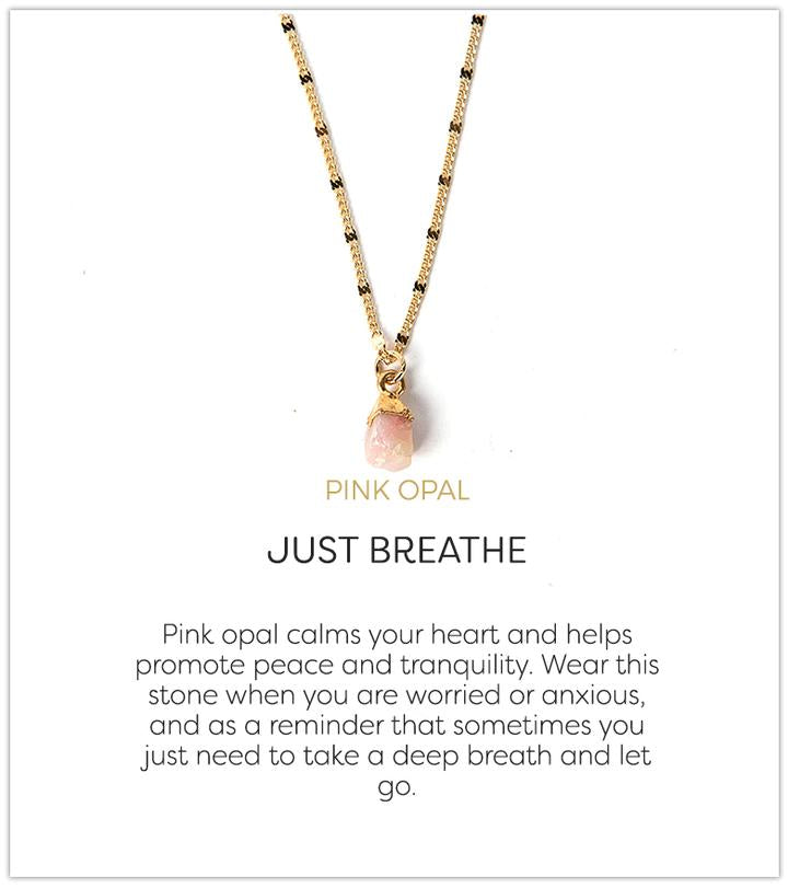 Just Breathe Necklace, Pink Opal