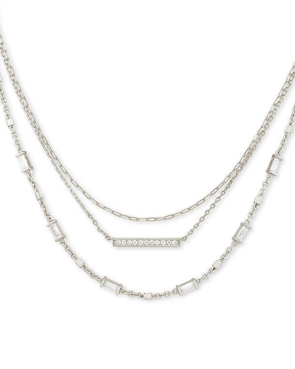 Addison Multi Strand Necklace in Silver