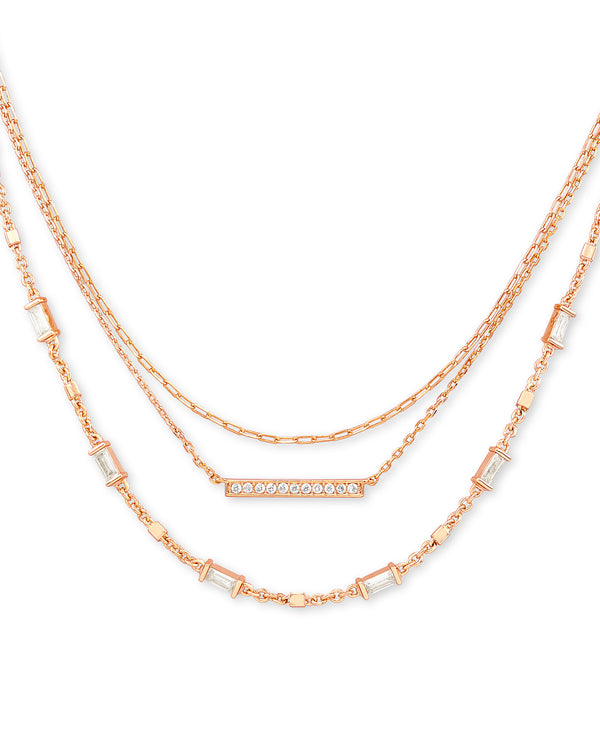 Addison Multi Strand Necklace in Rose Gold