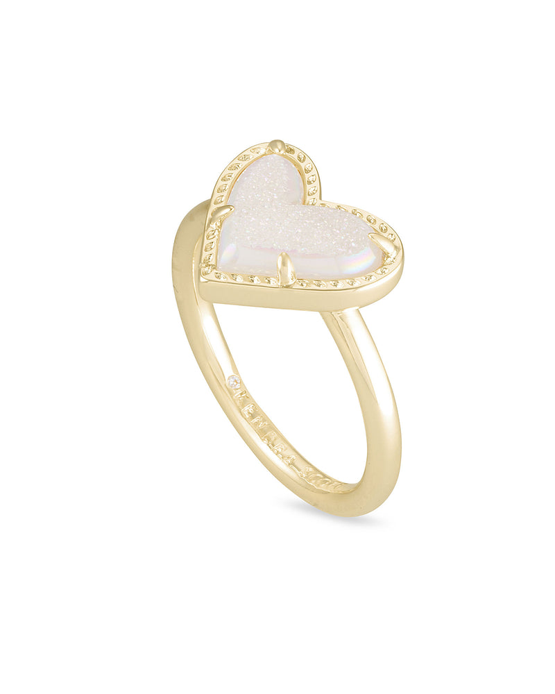 Ari Heart Band Ring in Gold Iridescent Drusy