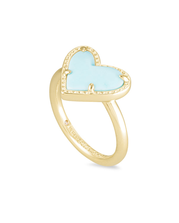Ari Gold Heart Band Ring in Light Blue Magnesite