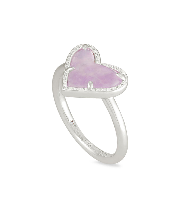 Ari Silver Heart Band Ring in Amethyst